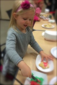 Decorating cookies at the Breakfast with Santa
